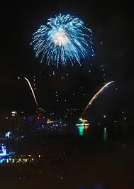 Fireworks at night, Lloret beach